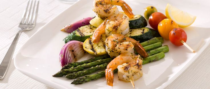 Curtis Stone | Barbecued Prawns and Mixed Vegetables with Lemon Zest, Garlic, and Fresh Herbs