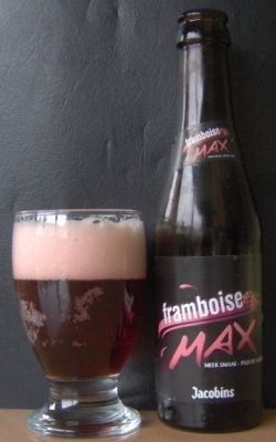 Cerveja Jacobins Framboise Max, estilo Lambic - Fruit, produzida por Brouwerij Bockor, Bélgica. 3.2% ABV de álcool.