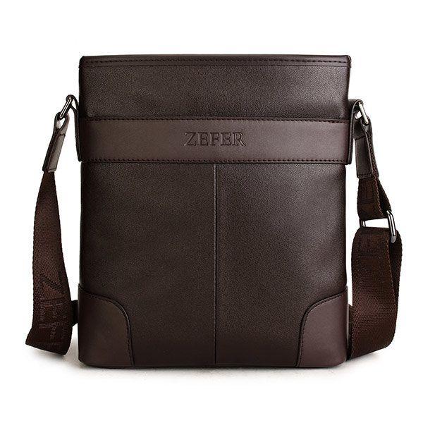 d02b39b4f159 ZEFER Men Business PU Leather Casual Shoulder Messenger Crossbody ...