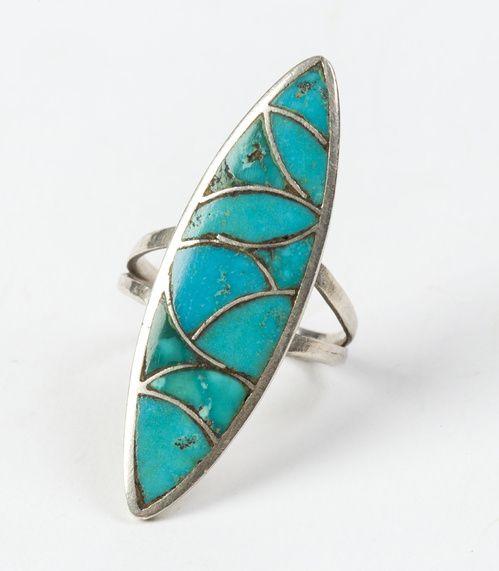 Bague Navajo en argent et turquoises