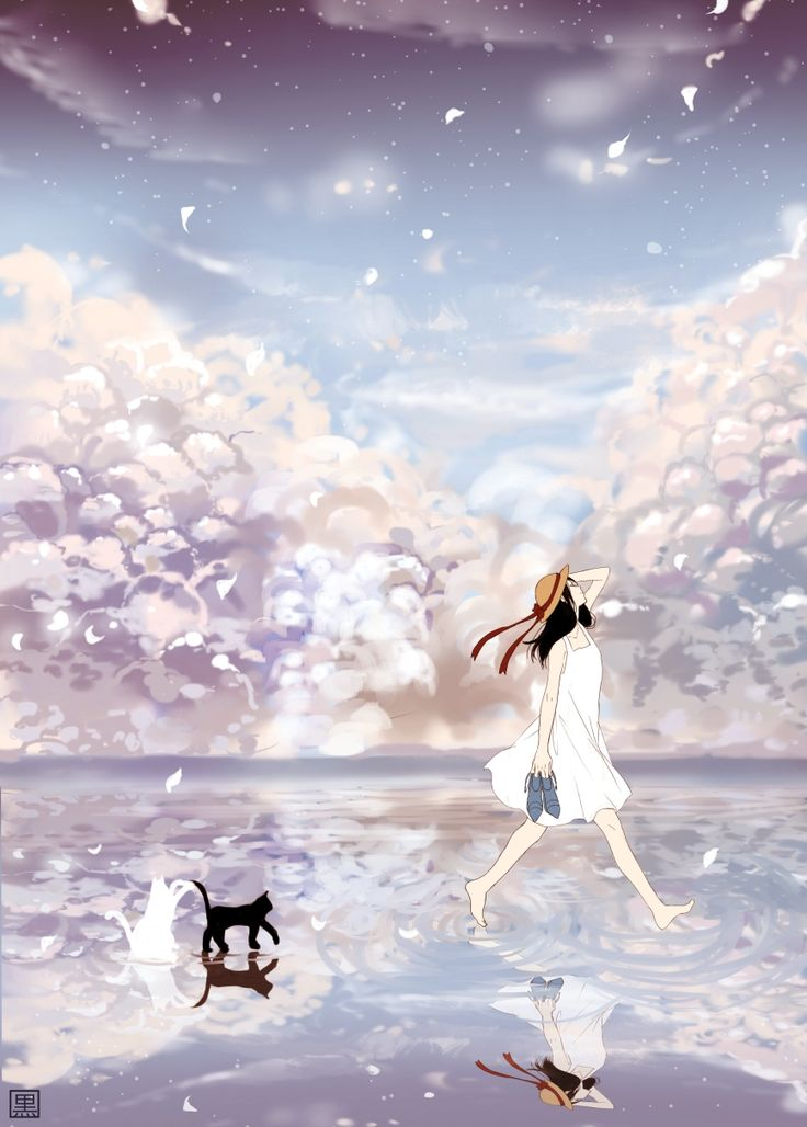 Anime girl and cat                                                       …