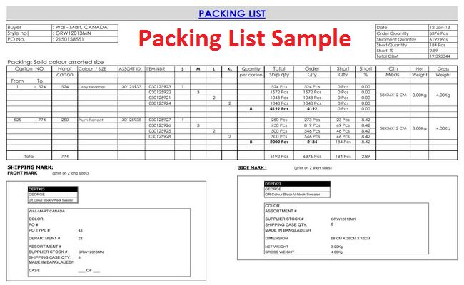 packing list format in apparel industry