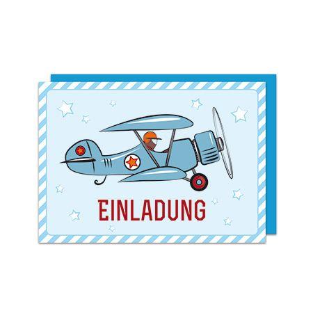 Wer keine Lust auf ein Einladungs DIY hat kann auch diese coolen gedruckten Einladungskarten im Flugzeugdesign nehmen. Einladungs Set Flugzeug bei www.party-princess.de