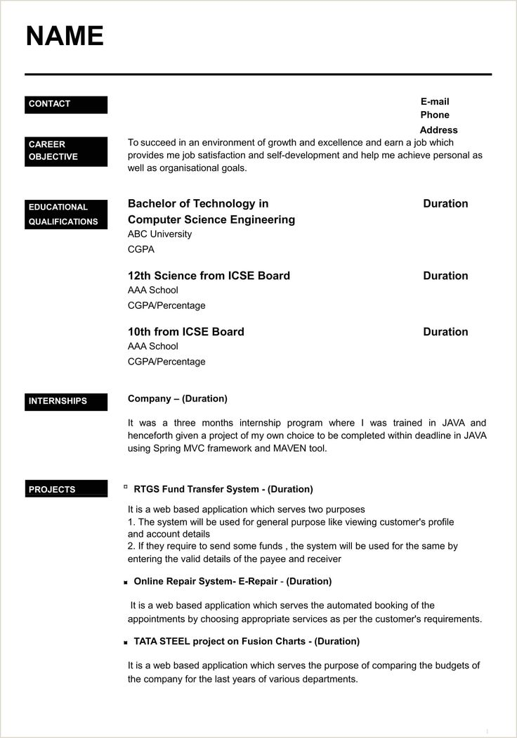 Fresher Graduate Cv format in 2020 Job resume template