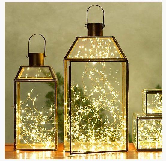 glimmer string Lights in lanterns
