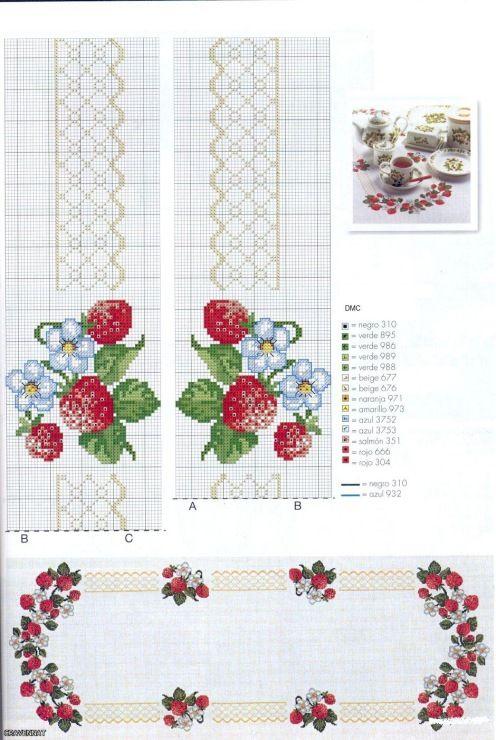 Cross Stitch Pattern Table Cloth Kanaviçe Masa Örtüsü Etamin