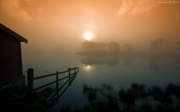 Jezioro, Mgła, Zachód, Słońca