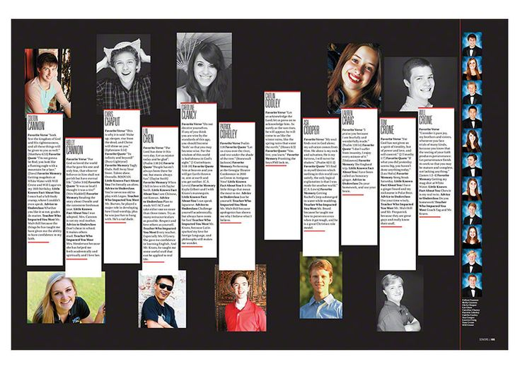 Cool way to have senior feature stories - notice the portraits running down the side? Love this!