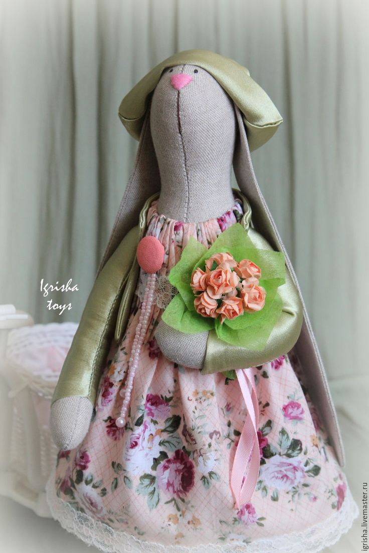 Купить Зайка Эльза - салатовый, интереьрная игрушка, интерьер, интерьер детской, декор для интерьера