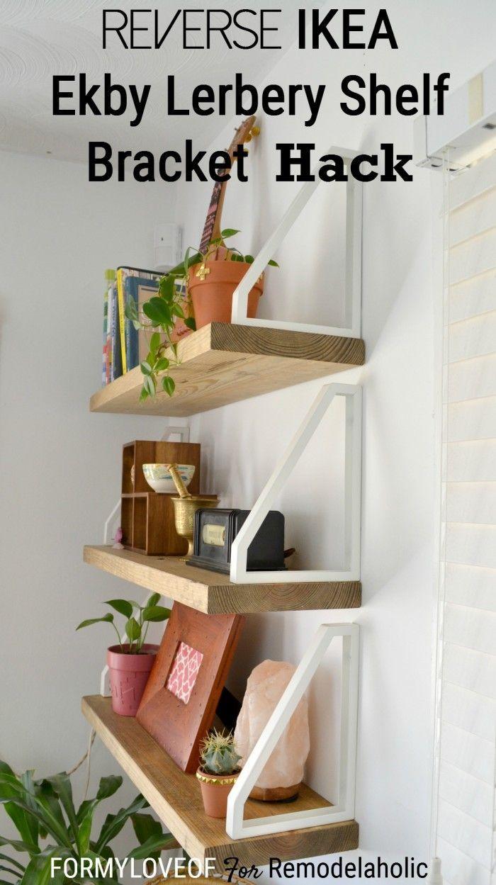 Super easy shelf with a non-traditional boho rustic look! Reverse IKEA Ekby Lerberg Shelf Bracket Hack