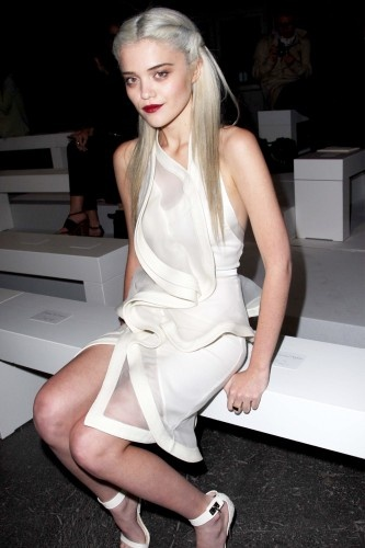 Sky Ferreira: Architectural white and sheer dress and white Givenchy sandals.