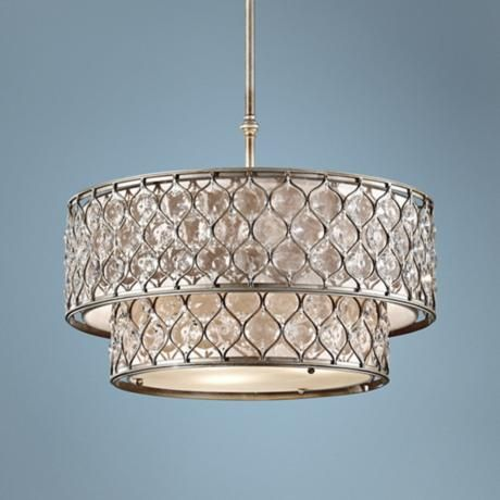 "Murray Feiss Lucia 24 1/2"" W Burnished Silver Pendant Light   Style # X4103  $1,479.91"