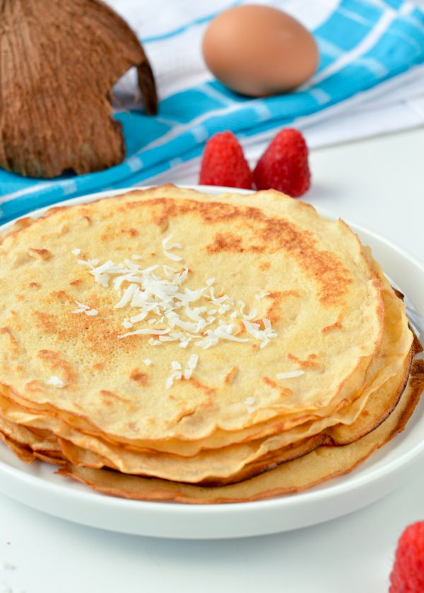 Coconut flour crepes are easy low carb breakfast or desserts crepes perfect for sweet or savory filling. Gluten free + keto + paleo.