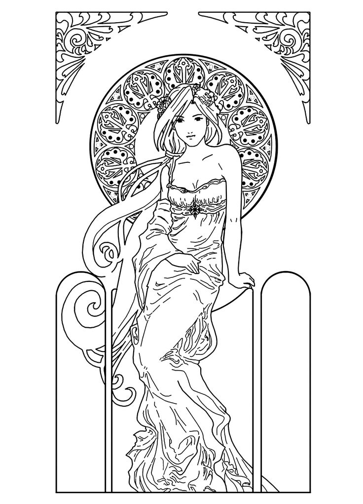 To print this free coloring page «coloring-drawing-woman-inspiration-art-nouveau», click on the printer icon at the right