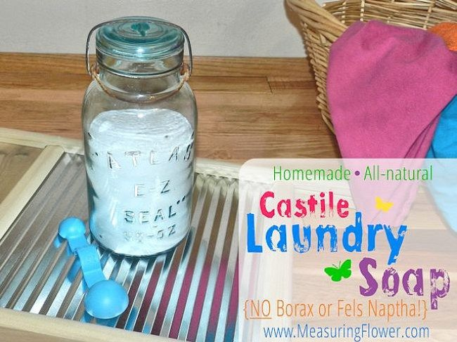 Homemade All-natural Castile Laundry Soap Recipe {Powdered or Liquid}–Fels Naptha and Borax Free {Now with a Thieves Household Cleaner Option}