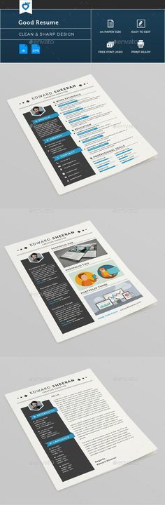 #Good Resume - #Resumes #Stationery Download here: https://graphicriver.net/item/good-resume/11165982?ref=alena994