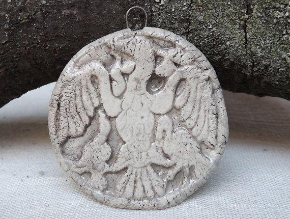 Ceramic  Pendant Ancient Hungarian Motif Raku by BlueBirdyDesign, €7.00