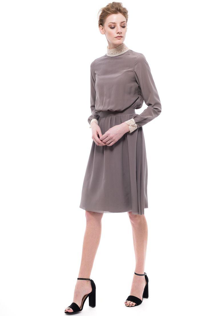 Stand-up Collar Silk Dress