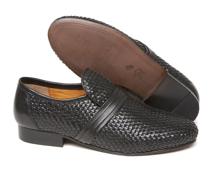 Woven leather slip-on