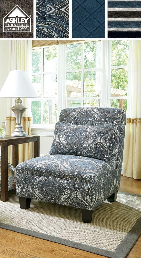 LOVE the palette of fabrics! Navasota Accent Chair - Ashley Furniture HomeStore