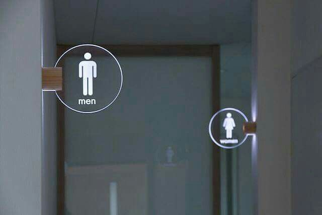illuminated toilet sign