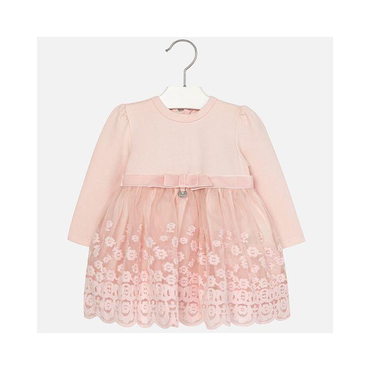 Roze jurkje tricot met kanten rokje van het Spaanse merk Mayoral.