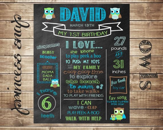 First Birthday Chalkboard  Owls  100 CUSTOMIZED di PrincessSnap