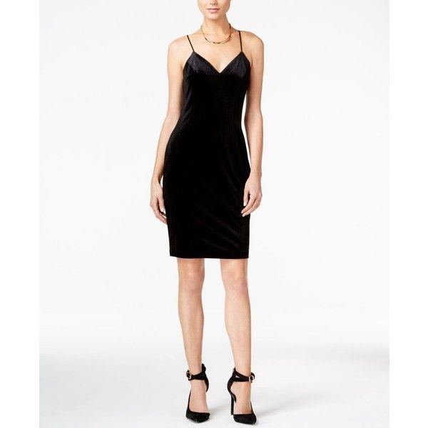 Guess Erika Velvet Sheath Dress ($79) ❤ liked on Polyvore featuring dresses, jet black, velvet dress, sheath dress, sheath cocktail dress, little black dress and guess dresses