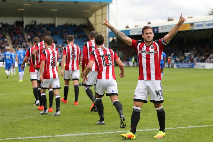 Sheffield United's Billy Sharp celebrates scoring his sides second goal during…