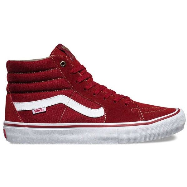 Vans Sk8-Hi Pro ($70) ❤ liked on Polyvore featuring men's fashion, men's shoes, men's sneakers, red, mens red shoes, vans mens shoes and mens red sneakers