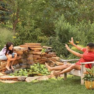 Build a Backyard Waterfall in One Weekend  Transform your backyard with a small pond - Build this small pond with stonework and a waterfall in as little as one weekend. We show you how to build it from start to finish.