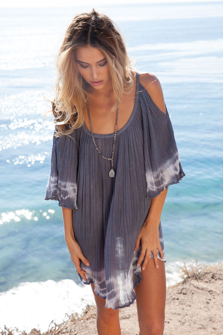 Jen's Pirate Booty 'Nena' tunic in storm/natural edge tie dye