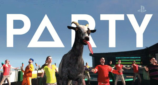 New party member! Tags: lol party goat lmfao oh yeah goats dance off tongue out let's dance goat simulator goat party