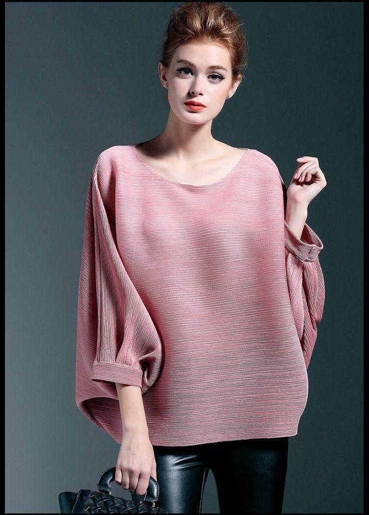 Para mujer O-cuello de las tapas tradicionales chinos amarillo / rojo / verde / rosa / gris 3/4 de la manga del batwing de 2016 del resorte de la blusa floja camisa femenina