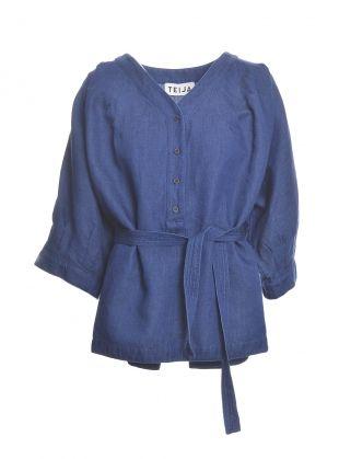 Belted Shirt in Denim Blue Linen Cotton by Teija Eilola