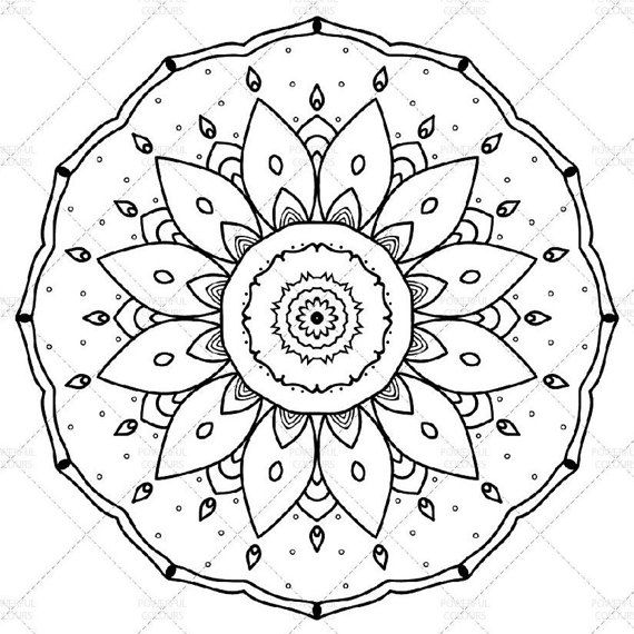 Printable Mandala Coloring Page for Adults N.2 | Adult Coloring | A4, A3, Letter, legal, tabloid PDF #etsy #mandala #printable |  Mandala in black and white to print and color for kids and adults. It's useful for family fun and to relieve stress with color therapy.
