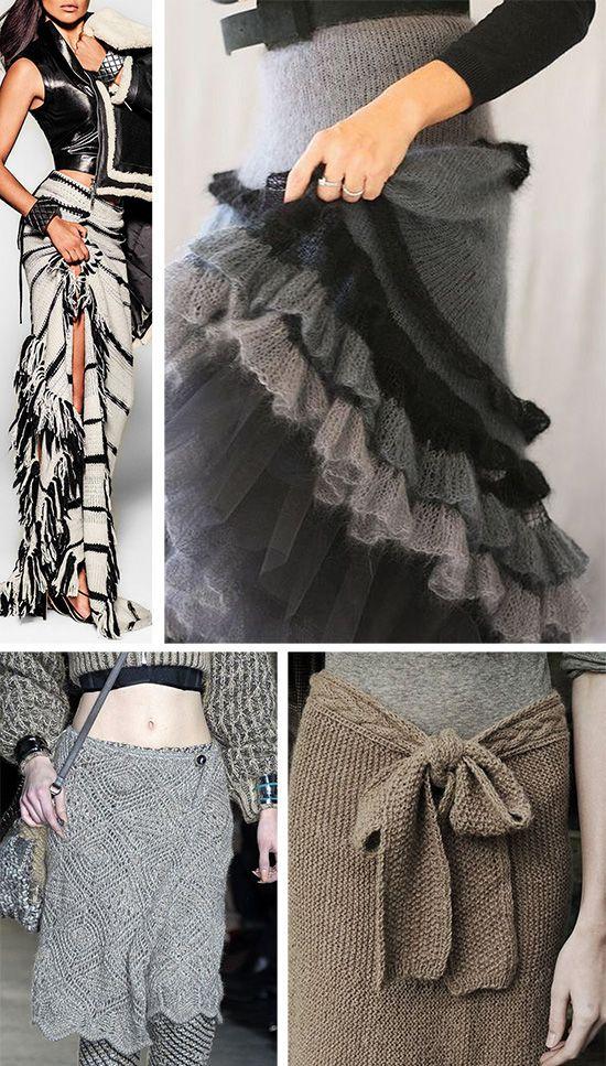 Теплые вязаные юбки