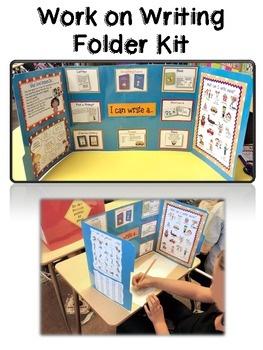 """Work on Writing Folder Kit"" - Teacherific in 2 grade - TeachersPayTeachers.com {Make using 2 colored file folders. Print everything on full sheet labels. Then place on folders & laminate for durability.} Make these ASAP!"
