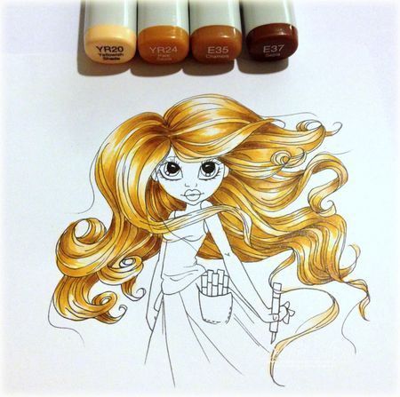 Love this hair! Another good excuse to buy some more Copics! (Hello, Copic Friend - Thinking Inking).