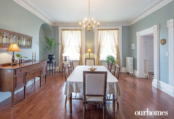 New flooring was installed in the formal dining room where the owners made plaster castings to repair the acorn and oak leaf crown moulding that frames the ceiling.   See more of this home in OUR HOMES Peterborough Early Summer 2016 http://www.ourhomes.ca/articles/build/article/180yearold-cobourg-loyalist-home-restored