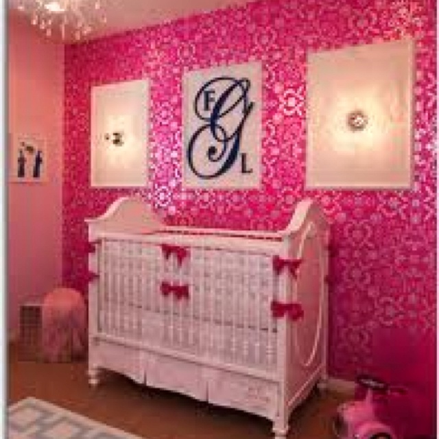Charming Hot Pink Damask Wallpaper Accent Wall For Teen Room W/ Navy Monogram