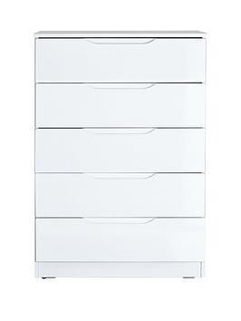Monaco High Gloss Ready Embled Chest Of 5 Drawers In White Black Or Grey As