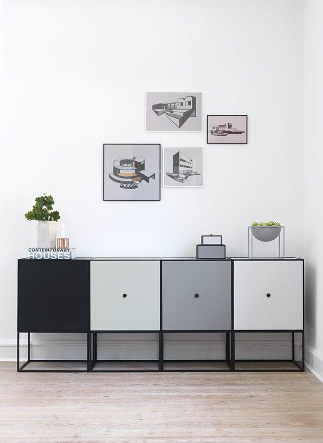 Sideboard with long legs / Scandinavian design / melamine - FRAME - by Lassen