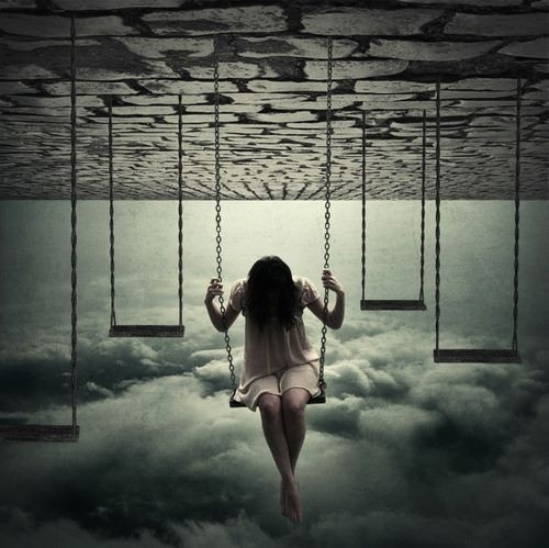 upside down swinging girl