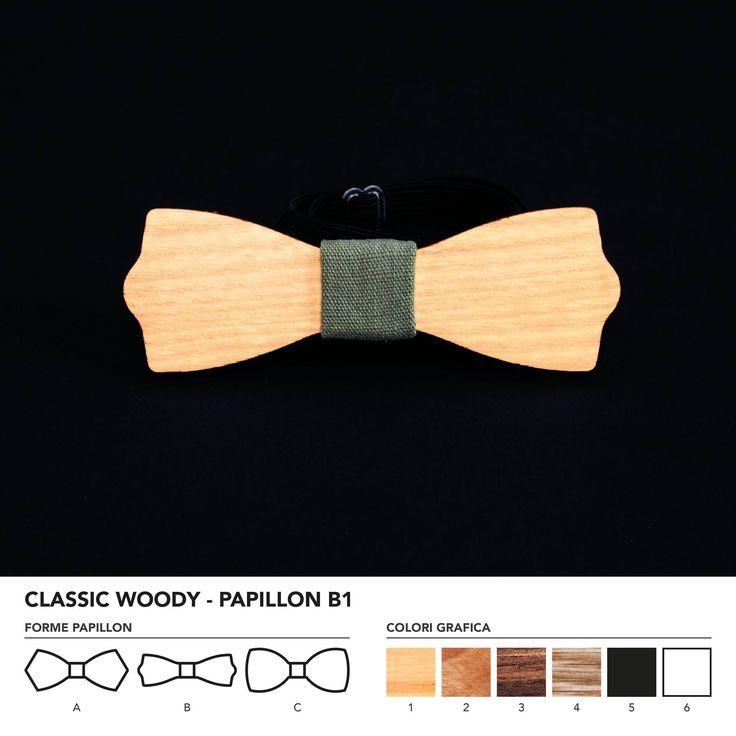CLASIC WOODY - PAPILLON B1  Papillon in legno di frassino. Nodo centrale personalizzabile in base alle vostre esigenze e alle nostre disponibilità.  N.B. Usando legno massello naturale ogni prodotto presenta diverse venature e sfumature di colore, rendendo così ogni papillon unico è diverso dagli altri.