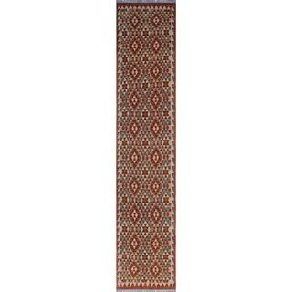 Sangat Kilim Cebrail Red/Green Rug (2'9 x 13'1)