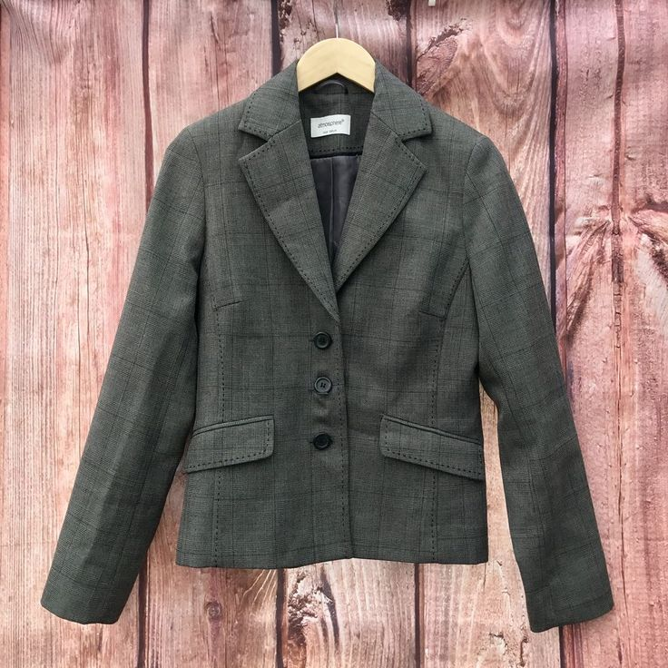 Woman's Suit jacket top atmosphere blazer square Check Pattern fitted lined grey