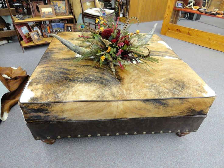 Huge Brindle Cowhide Ottoman Made In Usa Just Waiting To Sit Front Of The Tv Or Middle Living Room Western Horn Fl Piece Adorns Top