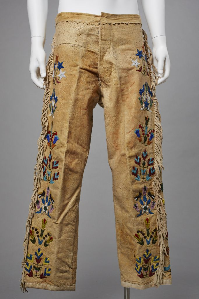 Unknown Santee Sioux artist, Man's Pants, ca. 1890, Native tanned buckskin, cotton lining, ocre staining, glass beads, and buttons, The Elizabeth Cole Butler Collection
