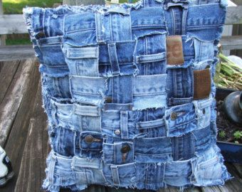 Denim pillow sham made from weaving waistbands from recycled jeans.  Heavy, 14 x 14 inch.  Easy insert opening. Pillow form NOT included.